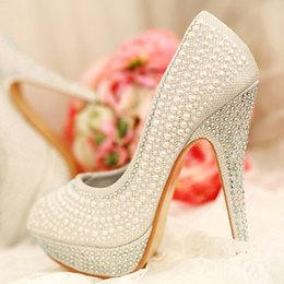 Wholesale Cheap Shoes For Weddings - White Bridal Wedding Shoes 2015 Imitation Pearl Rhinestone Pumps 12 cm Stiletto Heels Platform Round Toe Cheap Wedding Shoes for Bride 238-5
