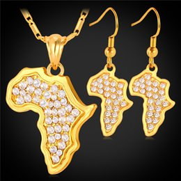 Wholesale Map Middle - Vintage Women's Clear Rhinestone Earrings Platinum Gold Plated New Trendy Africa Map Pendant Necklace African Jewelry Set