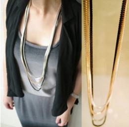 Wholesale Wholesale Jewelry Dozens - punk multi 4 pcs set layer multi-color snake cube long chain necklace for women wholesale 12 set for dozen European Trendy Fashion Jewelry