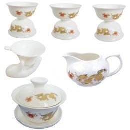Wholesale Porcelain Strainer - Wholesale-Free shipping 10PCS DEHUA white GaiWan porcelain TEA SET 1 tureen + 1 tea service pot+ strainer and holder +6 teacups