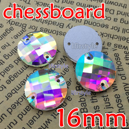 Wholesale Shiny Flat Stones - Wholesale-96pcs box 16mm Round chessboard Sew on stone Crystal Clear AB super shiny Flat Back sewing crystal rhinestone