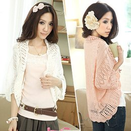 Wholesale ribbon embroidery stitches - Fashion Summer Short Women Small Cape Short Sleeve Cotton Jacket Shrug Small Cardigan Pink Color Free Size