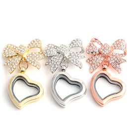 Wholesale Rose Gold Locket Charms - White k Rose gold Bowknot Heart Memory Floating Charm Locket Alloy + Crystal Rhinestone Pendant Necklace DIY Jewelry