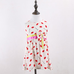 Wholesale Cheap Wholesale Online Store - Wholesale-Baby party dress Sleeveless baby grils casual dresses Lip print Cheap girls clothes baby stores online vestidos bautizo A175