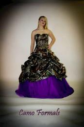 Argentina Vestidos de boda púrpura de la boda de Camo con la faja desprendible del arco longitud de la planta con gradas vestidos de boda del camuflaje de lujo 2015 cariño Camo Dress Suministro