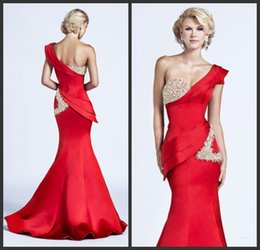 Wholesale Sexy One Shoulder Champagne Bead - 2015 Gorgeous Evening Dresses One Shoulder Short Sleeve Red Satin Crystal Beads Glitter Mermaid Sweep Train Draped Peplum Formal Prom Gowns