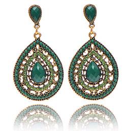 Wholesale European Style Bead Earrings - Hot Sale Bohemian Beads Eardrop Fashion Jewelry European & American Style Crystal Rhinestone Dangle Chandeliers Teardrop Earrings Cheap 6col