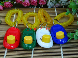 Wholesale Strap Vibration - Wholesale Free shipping clickers pet dog cat horse bird click obedience clicker Training Trainer with strap