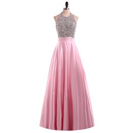 Wholesale Import Photos - Elegant Pink Long Prom Dresses 2017 Vestido De Festa Satin Halter Beaded Imported Party Dress Backless Prom Dresses Sexy Evening Gowns