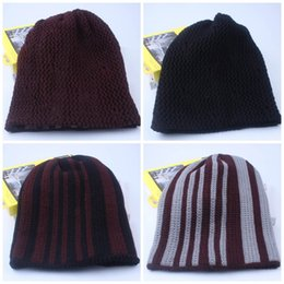 Wholesale Tie Dye Clothes Wholesale - Stripe Winter Cap Men And Women Knitted Hat Multi Color Keep Warm Beanie Lady Clothing And Accessories 9lz C