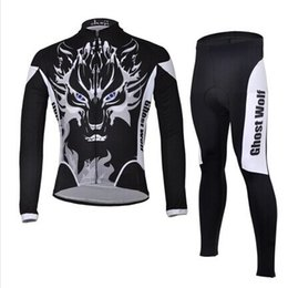 Wholesale Ghost Cycling Jersey - Wholesale-Winter Long Sleeve Ghost Wolf Cycling Jersey,Bike Bicycle Jerseys Wear Clothing Mesh COOLMAX - J006