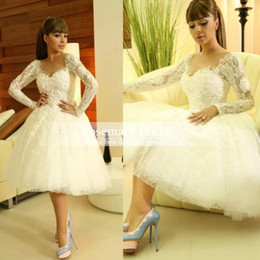 Wholesale Myriam Fares Beach - Gorgeous Myriam Fares Arabic Long Sleeves Wedding Dresses 2016 Summer Beach wedding Party Dresses Knee-length Lace Sheer Short Bridal Gowns