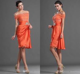 Wholesale Plus Size Orange Cocktail Dress - Orange 2016 Cocktail Party Dresses Sheath Short Formal Off The Shoulder Plus Size Custom Made Homecoming Short Evening Dresses Knee Length