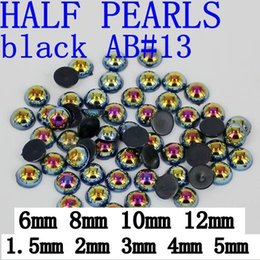 Wholesale Pearl Flatback 12mm - Free Shipping Round Flatback Pearl Beads 1.5-12mm black AB perfect for chothes dresses shoes and Nail Art Decoration