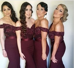 Wholesale Silver Wine Red Wedding - Burgundy Mermaid Bridesmaid Dresses Sexy Off the Shoulder Lace Beads Vestido madrinha Dark Wine Red Maid of Honor Dress Wedding Party Gowns