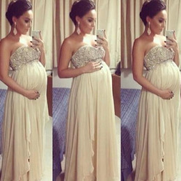 Wholesale Images For Chiffon Dresses - Stunning Prom Dresses for Pregnant Women Empire Crystals Beaded Top Chiffon Evening Dresses for Maternity High Quality Formal Wear