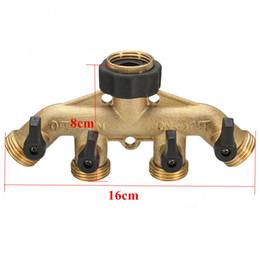 Boquilla de tubo flexible online-3/4 Pulgadas 4 Way Hose Pipe Switcher Adaptador de boquilla divisor del conector del grifo de jardín de latón macizo