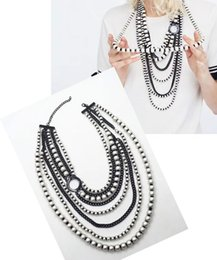 Wholesale layered black necklace - MULTI LAYERED FAUX PEARL NECKLACE EXAGGERATED MULTI STRANDS PEARL AND CHAIN STATEMENT NECKLACE FOR GIRLS PLATED IN BLACK FREE SHIPPING