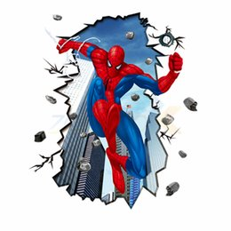 Wholesale Removable Wall Decals Spiders - Movie character spider man wall stickers home decoration for kids rooms ZooYoo8003 decorative removable pvc wall decals 4.0