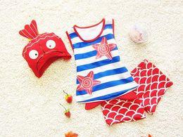 Wholesale Toddler Girl Wearing Swimsuit - kid beach wear swimsuit girl boy stripe vest + swimming trunks + fish style cap 3pcs set toddler baby summer wear pool swimwear 1-8