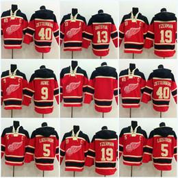 Jersey de la sudadera con capucha del hockey de detroit online-40 Henrik Zetterberg Detroit Red Wings Jersey 13 Pavel Datsyuk 9 Gordie Howe 19 Steve Yzerman Hombres sudadera con capucha Jersey Sweater Jersey