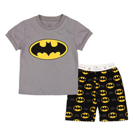 Wholesale Set Summer For Boys - 2016 Special Offer Real Batman Pajamas Baby Clothes 2016 Spring Summer Set Boys Short Sleeve Sleepwear 2 Pieces Home Clothing for Chrildren