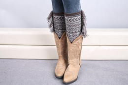 Wholesale Women Plaid Legging - Crochet Boot Cuff Polaina Christmas Tassel Knitted Leg Warmers Fashion Rhombus Plaid Women Knitted Leg Warmer buy 80's leg warmers B165