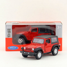 Wholesale Kids Car Jeep - Free Shipping WELLY Toy Diecast Model 1:36 Scale 2007 Jeep Wrangler Ribcon SUV Pull Back Car Educational Collection Gift Kid