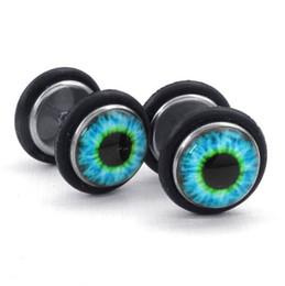 1 paire mens acier inoxydable Evil Eye Stud boucles d'oreilles bleu noir Drop Shipping ? partir de fabricateur