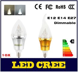 Wholesale E14 Dimmable Led Candle 12w - 10X Dimmable 110V 220V CREE LED Candle Bulb E12 E14 E27 LED Lamp 85-265V 9W 12W 15W LED Light Chandelier LED Lighting Bulbs