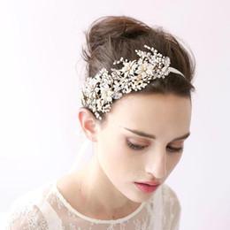 Wholesale Vintage Rhinestone Head Piece - 2017 Vintage Hair Band Head Pieces Pearls Crystals Wedding Bridal Hair Accessories Hairband Free Shipping CPA149