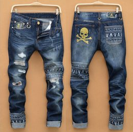Wholesale Blue Stole - Male brand jeans hip-hop motorcycle stolen goods thin slim pants ripped jeans really crime robin jeans