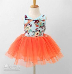 Wholesale Childrens Green Dresses - Cute Floral Girls Dresses Korean Tulle Kids Tutu Dresses Summer Baby Girl Party Dresses Children Gzue Sundresses Childrens Clothing 535