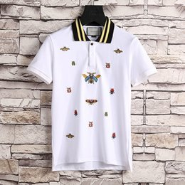 Wholesale Tiger Print T Shirts Women - New Luxury Brand embroidery g&g t shirts for men Italy Fashion poloshirt women High street Snake Little Bee Tiger print mens polo shirt