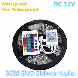 Wholesale Led Strips Lighting - Cheapest 3528 RGB Led Strip Light 5M 300SMD Waterproof Non Waterproof Led String Flexible Light + 24keys IR Remote Controller