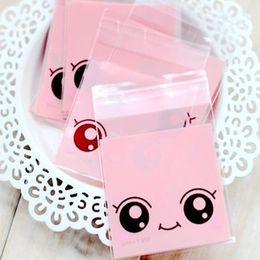 "Wholesale Macaron Bakery Packaging - 7*7cm (2.8*2.8"") Lovely Pink Big Eyes Cellophane Cookies Packaging Bag Self Adhesive Plastic Bakery Baking Macaron Biscuit Cake Packing Bag"