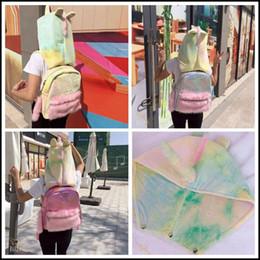 Wholesale Fashion Kids School Bag - 3 Styles Presale Laser Unicorn Backpack Cartoon Plush Unicorn Shoulder Bag Kids Rainbow Unicorn School Bag With Cap CCA8170 3pcs