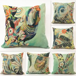 Wholesale Cock Case - Vintage Oil Painting Style Cock Horse Rabbit Deer Rooster Cushions Pillows Covers Decorative Sofa Linen Cotton Cushion Cover Pillow Case