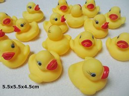Wholesale Gift Items For Kids - 5.5x5.5x4.5cm Baby Bath Water Toys for Sale Sounds Yellow Rubber Ducks Kids Bath Children Swiming Beach toys Gifts wholesale - 0012CHR