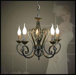 Wholesale Black Iron Chandeliers - Lustres Wrought Iron Chandelier E14 Candle Light Black industrial home luminaire lava lamps as creative gift lu lustre pendant lights modern
