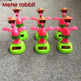 Wholesale Child Swings - Wholesale- Solar Powered Dancing Flamingo Swinging Bobble Toy Gift For Car Decoration Novelty Happy Dancing Solar animal Toys For Children