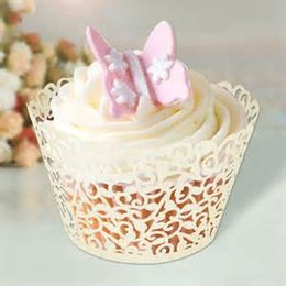 Wholesale Laser Cutting Wrapper - Promotion free shipping 120pcs Ivory Vine filigree Laser cut Lace Cup Cake Wrapper Cupcake Wrapper FOR Wedding christmas Party Decoration