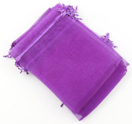 Wholesale Purple Organza Gift Bags - 100pcs lot Purple 7x9cm 9X11cm 13X18cm Organza Jewelry Gift Pouch Bags For Wedding favors,beads,jewelry 13022703