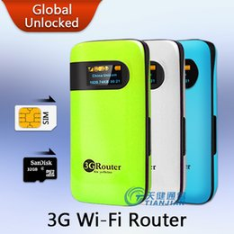 Wholesale Pocket Modem Wifi Router - Mobile Device Portable Pocket Mini Wi-Fi Modem Support WCDMA HSPA Unlock Hotspot Wireless MiFi 3G WiFi Router with SIM Card Slot