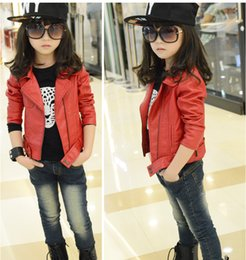 Wholesale Kids Leather Jacket 3t - Girls Outwear Hot Kids Jacket fashion Girls Jacket Children coat for girls autumn leather jackets PU Blazer zippers Wholesale Drop Shipping