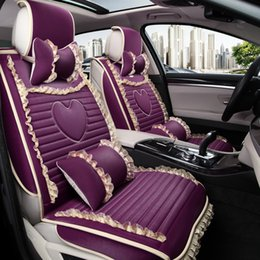 Wholesale Motor Seat Covers - General Motors seat cover cartoon all-inclusive cute lace seat covers beige yellow purple red black car essential accessories