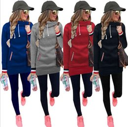 Wholesale Girls Red Coats Winter - Women High Collar Hoodies Long Sleeve Sweater Tops Pullover Jumper Winter Lacing Outerwear Hooded Sweater Coat OOA3415