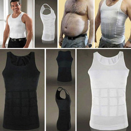 Wholesale Fitness Shaper - Men Exercise Fitness Wear Shirt Bodybuilding Slim Tummy Shaper Belly Gym Clothing Shapewear Waist Girdle Shirt Beach Bathing Vest