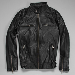 Wholesale Genuine Leather Jackets For Mens - Fall-Factory Beckham Mens Leather Jacket For Men Genuine Sheepskin Cow Calf Skin Short Bomber Biker Motorcycle Male Coat Winter ZH138