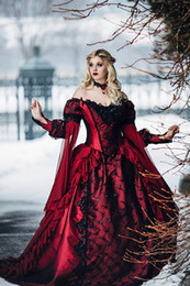 Wholesale Sexy Black Sleep Dress - Gothic Sleeping Beauty Princess Medieval Red and Black Ball Gown Wedding Dress Long Sleeve Lace Appliques Victorian Bridal Gowns